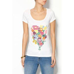 Tričko so stredovou potlačou biela S vyobraziť
