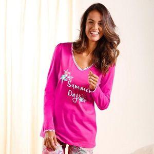 Pyžamové tričko s dlhými rukávmi fuchsie 34/36 vyobraziť