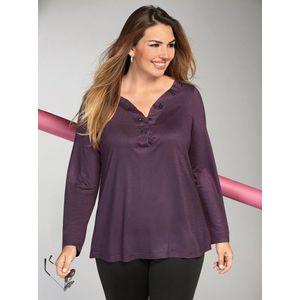 Tričko s dlhými rukávmi a kamienkami fialová L vyobraziť