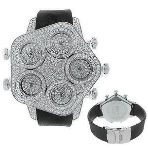 Iced Out 5 Timezones Watch - MEGA BLING silver - Uni / strieborná vyobraziť