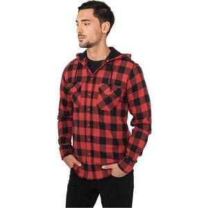 Urban Classics Hooded Checked Flanell Shirt Blk Red - XL / červeno-čierna vyobraziť
