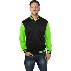 Urban Classics Neon College Jacket - XL / čierno-zelená vyobraziť