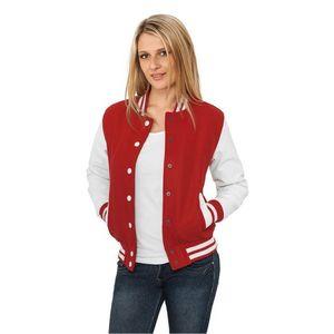 Urban Classics Ladies Oldschool College Jacket Rd White - XS   červeno-biela 7dec952e201