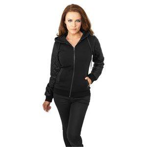 40a292372ddc Urban Classics Ladies Diamond Leather Imitation Sleeve Zip Hoody Blk - XS    čierno-čierna