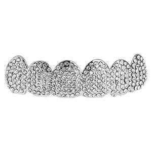 Iced Out One Size Fits All Bling Grillz - ICED OUT TOP - Silver - Uni / strieborná vyobraziť
