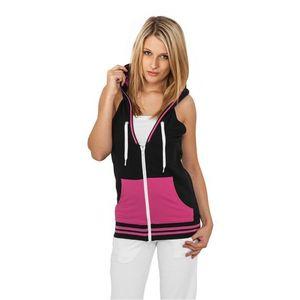 Urban Classics Ladies Hooded French Terry Vest Black/fuchsia - S / čierno-ružová vyobraziť