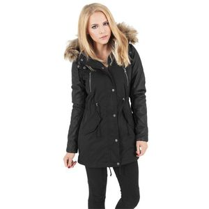 Urban Classics Ladies Leather Imitation Sleeve Parka Blk - XS / čierna vyobraziť
