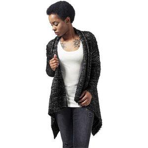 Urban Classics Ladies Knit Feather Cardigan Blk/wht - XL / čierna vyobraziť