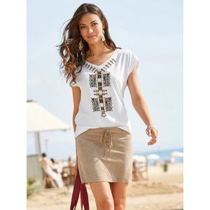 69789bce52a3 Ultra krátka sukňa z imitácie semišu béžová 44