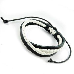Iced Out Surfer Leather Bracelet - BRAIDED Black White - Uni / čierno-biela vyobraziť