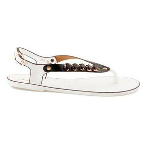 Fantastické bielo-čierne gumené sandále vyobraziť