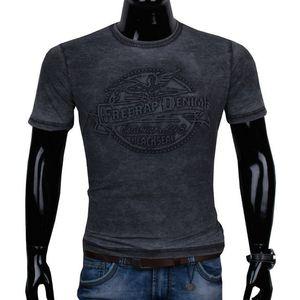 11444-74 Čierne pánske tričko s 3D vzorom. vyobraziť