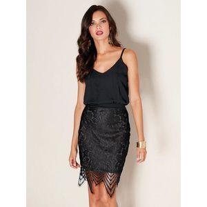 Večerné šaty s čipkovanou sukňou čierna 42 vyobraziť
