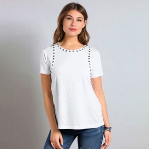 Asymetrické tričko s kovovými očkami biela S vyobraziť