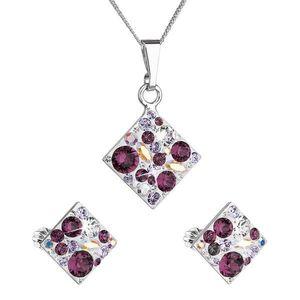 Sada šperkov s krištáľmi Swarovski náušnice, retiazka a prívesok fialový kosoštvorec 39126.3 amethyst vyobraziť