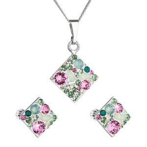 Sada šperkov s krištáľmi Swarovski náušnice, retiazka a prívesok zelený kosoštvorec 39126.3 chrysolite vyobraziť