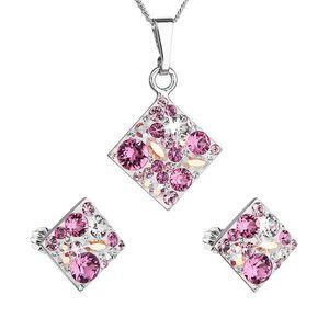 Sada šperkov s krištáľmi Swarovski náušnice, retiazka a prívesok ružový kosoštvorec 39126.3 vyobraziť