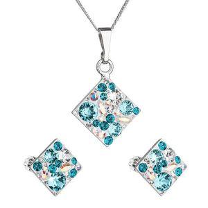 Sada šperkov s krištáľmi Swarovski náušnice, retiazka a prívesok modrý kosoštvorec39126.3 turquoise vyobraziť