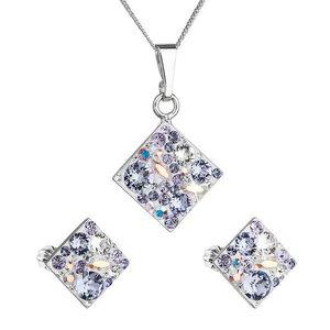 Sada šperkov s krištáľmi Swarovski náušnice, retiazka a prívesok fialový kosoštvorec39126.3 violet vyobraziť