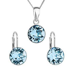 Sada šperkov s krištáľmi Swarovski náušnice, retiazka a prívesok modré okrúhle 39140.3 aqua vyobraziť