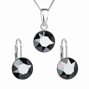Sada šperkov s krištáľmi Swarovski náušnice, retiazka a prívesok čierne okrúhle 39140.5 hematite vyobraziť