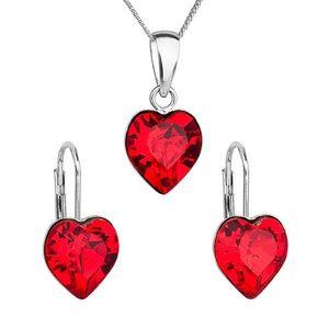 Sada šperkov s krištáľmi Swarovski náušnice, retiazka a prívesok červené srdce 39141.3 vyobraziť
