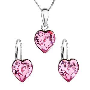 Sada šperkov s krištáľmi Swarovski náušnice, retiazka a prívesok ružové srdce 39141.3 vyobraziť