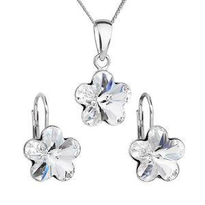 Sada šperkov s krištáľmi Swarovski náušnice, retiazka a prívesok biely kvietok 39143.1 vyobraziť