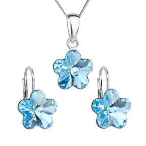 Sada šperkov s krištáľmi Swarovski náušnice, retiazka a prívesok modrý kvietok 39143.3 vyobraziť