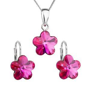 Sada šperkov s krištáľmi Swarovski náušnice, retiazka a prívesok ružový kvietok 39143.3 fuchsia vyobraziť