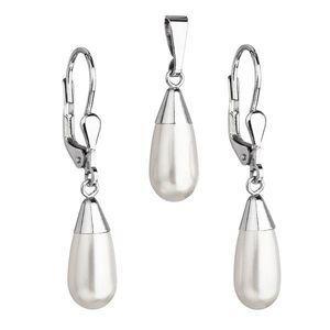 Sada šperkov s perlami Swarovski náušnice a prívesok biela perla slza 39119.1 vyobraziť