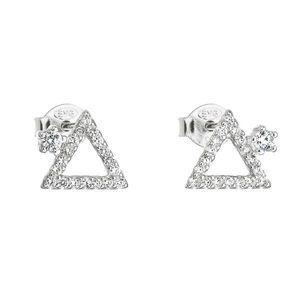 Strieborné náušnice kôstka so zirkónom biely trojuholník 11037.1 vyobraziť