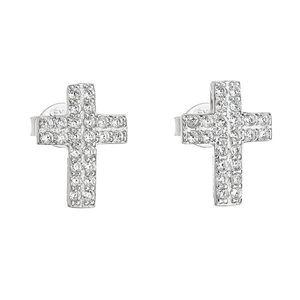 Strieborné náušnice kôstka so zirkónom biely krížik 11068.1 vyobraziť