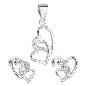 Sada šperkov so zirkónom náušnice a prívesok biele srdce 19015.1 vyobraziť