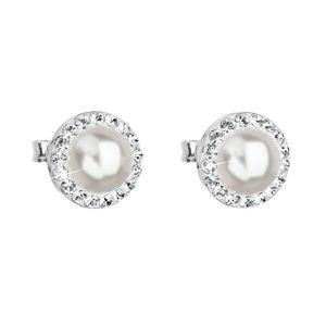 Strieborné náušnice kôstka s krištáľmi Swarovski a bielou perlou okrúhle 31214.1 vyobraziť