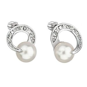 Strieborné náušnice kôstka s perlou Swarovski biele okrúhle 31239.1 vyobraziť