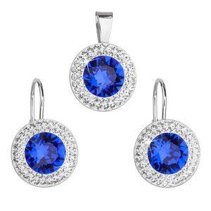 Sada šperkov s krištáľmi Swarovski náušnice a prívesok modré okrúhle 39107.3 majestic blue vyobraziť