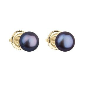 Zlaté 14 karátové náušnice kôstky s modrou riečnou perlou 921004.3 vyobraziť