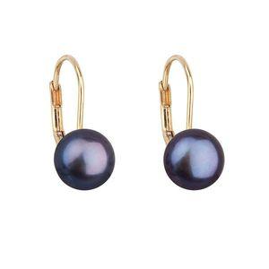 Zlaté 14 karátové náušnice visacie s modrou riečnou perlou 921009.3 vyobraziť