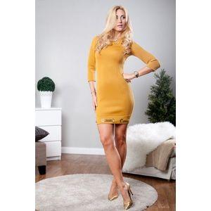 915a66c16174 Horčicové mini šaty s dlhými rukávmi a zlatými aplikáciami