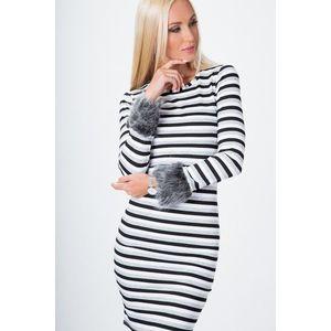 Pruhované šaty s kožušinou, čierna-biela-šedá vyobraziť