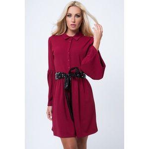 Košeľové šaty so zapínaním do pásu na gombíky, bordové vyobraziť