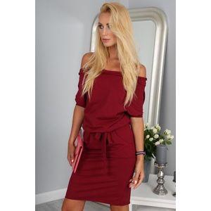 240d770b6c3a Krásne letné bordové šaty s viazaním okolo pásu