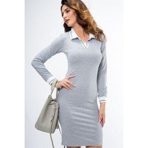 Bavlnené šaty s dlhým rukávom a stojačikom s V výstrihom, sivé vyobraziť