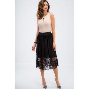 Elegantná, čierna, čipkovaná sukňa vyobraziť
