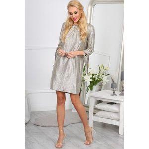Extravagantné, zlaté mini šaty s ¾ rukávmi. vyobraziť