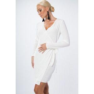 Zamatové, zavinovacie šaty s výstrihom do V, biele vyobraziť