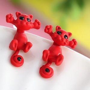 Náušnice Kitty Cat - Červená KP1762 vyobraziť