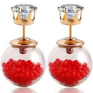 Náušnice Double Bead - Presýpacie - Červená KP1776 vyobraziť