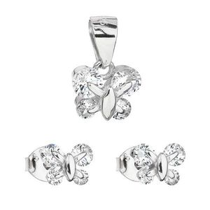 Sada šperkov so zirkónom náušnice a prívesok biely motýľ 19005.1 vyobraziť